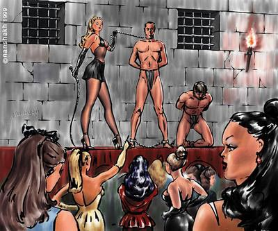 slaves humbly greet arriving Females .,,,,,.,,,. males will be sold to